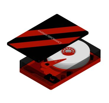 Isometric hard drive with an open cover in red and black, maximum performance. Internal organization. Isolated vector on white background