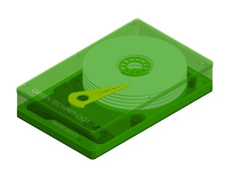 isometric hard drive with transparent cover, green technology. Internal organization. Isolated vector on white background