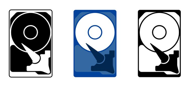 Hard drive icon with internal device and mechanisms. In flat style. Isolated vector
