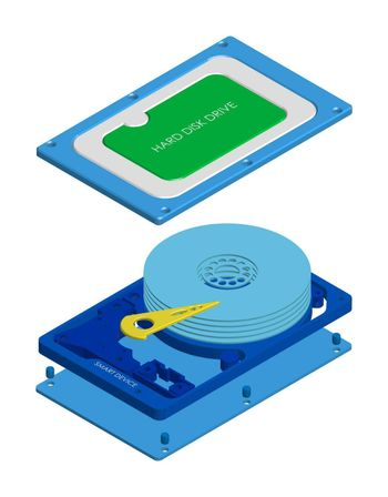 disassembled hard drive in isometry, realistic performance. Device circuit smart device. Isolated vector on white background
