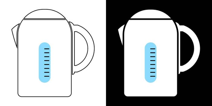 Electric kettle. The icon. Isolated vector on white and black background