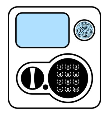 safe panel with combination lock and buttons. Black and white icon. Isolated vector