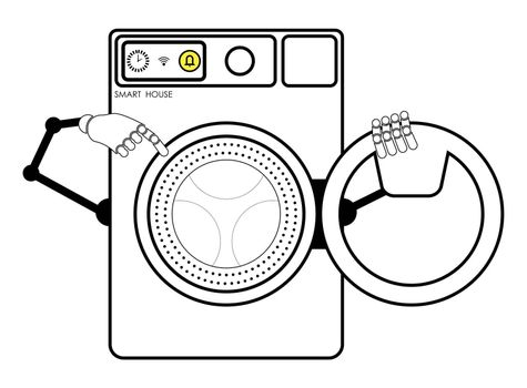 smart washing machine with an open laundry loading door with robot hands. Household appliances from the smart home series. Isolated vector on white background