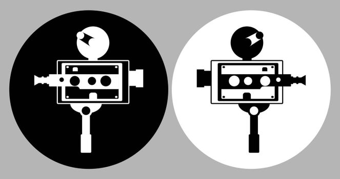 Old vintage portable camcorder logo. Filming a movie on retro instrument. Film recording of a movie. Isolated vector