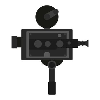 Old vintage portable camcorder. Filming a movie on retro instrument. Film recording of a movie. Isolated vector on white background