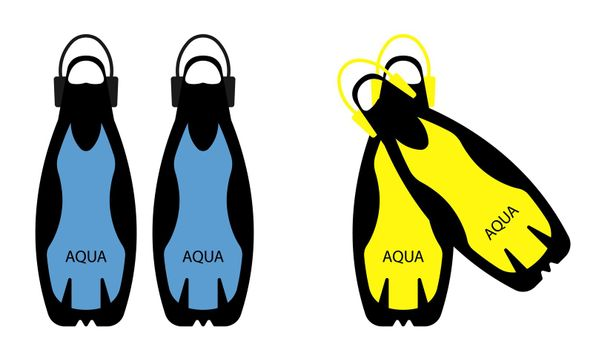 scuba diving flippers. Part of the ammunition. Isolated vector on white background in a flat style