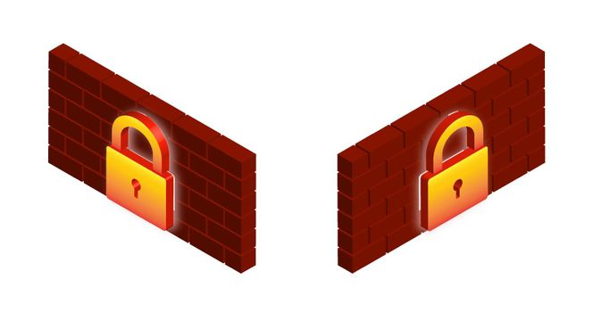 Firewall isometric sign is black and white and in the colors of fire. Network data protection. Vector