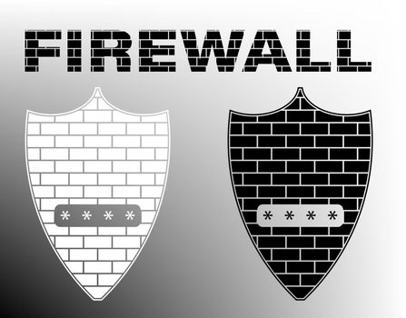 Firewall sign. Black and white building brick shield with a pin input window. Network data protection. Isolated vector