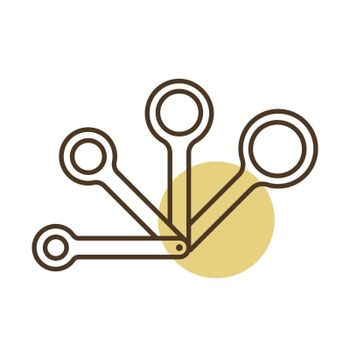 Measuring spoons vector icon. Kitchen appliance. Graph symbol for cooking web site design, logo, app, UI