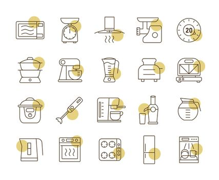 Kitchen appliances electronic electrical equipment tool vector icon set. Graph symbol for cooking web site and apps design, logo, app, UI