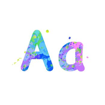 Letters A uppercase and lowercase with effect of liquid spots of paint in blue, green, pink colors, isolated on white background. Decoration element for design of a flyer, poster, cover, title. Vector