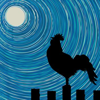 Background illustration with a rooster silhouette on a fence