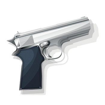 Gray pistol vector illustration over white background