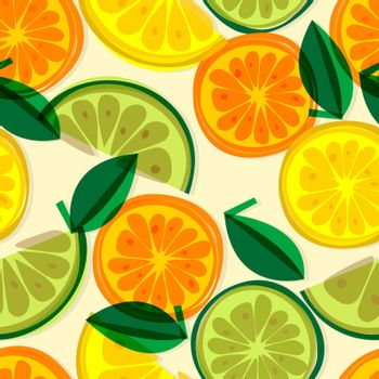 Vector bright background with lemon, grapefruit and orange slices. Seamless fresh pattern