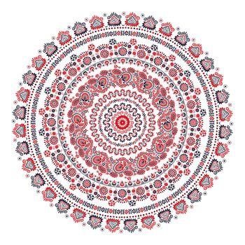 Decorative round folk ornament in Szekeli style, vector