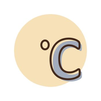 Celsius degrees vector icon. Meteorology sign. Graph symbol for travel, tourism and weather web site and apps design, logo, app, UI