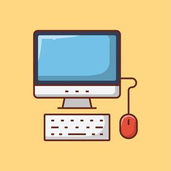 computer vector flat colour line icon