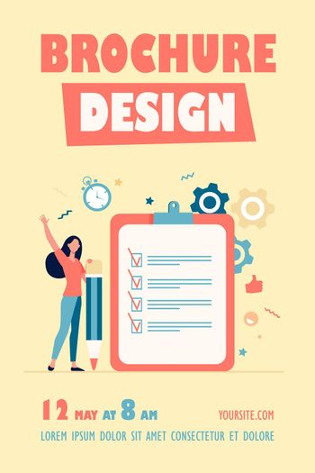 Checklist or survey concepts. Woman with pencil checking boxes in task list. Vector illustration for business success, goal achievement, tasks complete topics