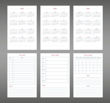 2022 2023 2024 2025 calendar daily weekly monthly personal planner diary template in classic strict style. individual schedule in minimal restrained business design. Week starts on sunday