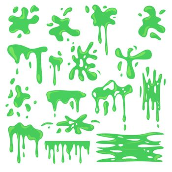 Toxic various green slime flat set for web design. Cartoon slimy goo splashes, blobs and mucus drops isolated vector illustration collection. Decorative shapes and liquid borders for design concept