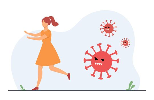 Woman running from aggressive covid. Person avoiding infection, saving from disease. Flat vector illustration. Coronavirus, pandemic panic concept for banner, website design or landing web page