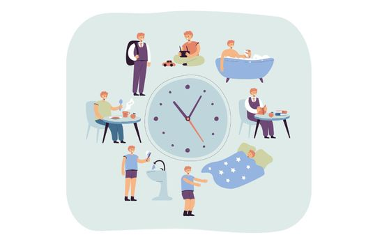 School kids daily schedule according to clock. Boy sleeping, taking bath, having breakfast or dinner, walking to school. Vector illustration for daily routine, everyday life concept