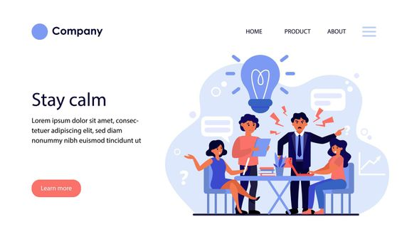 Aggressive boss scolding upset employees. Angry boss, mistakes, error, stress at work flat vector illustration. Business failure concept for banner, website design or landing web page