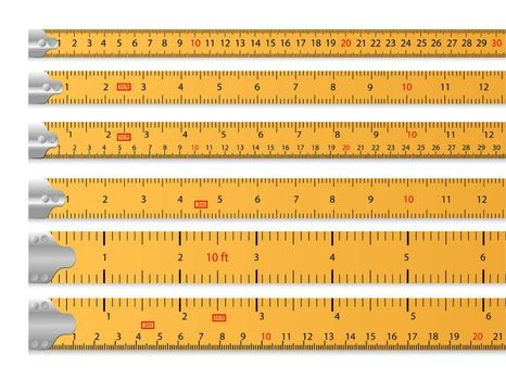 Measuring tape set. Ruler, tool, length. Measuring concept. Vector illustrations can be used for topics like size, carpentry, tailoring