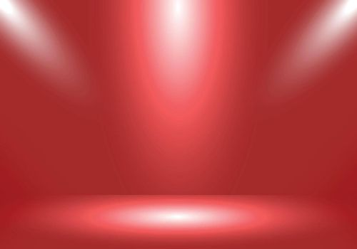 3D empty studio room show booth for designers with spotlight on living coral gradient color background. Display your product or artwork. Vector illustration