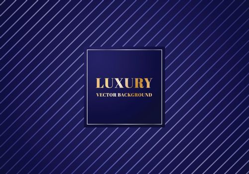 Abstract luxury silver diagonal lines pattern design on dark blue background with metallic banner. Luxurious texture. Vector illustration