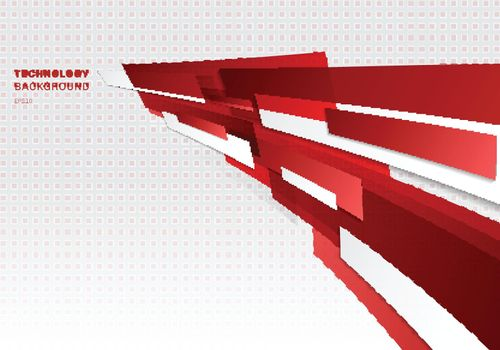 Abstract red and white shiny geometric shapes overlapping moving technology futuristic style presentation perspective background with copy space. Vector illustration