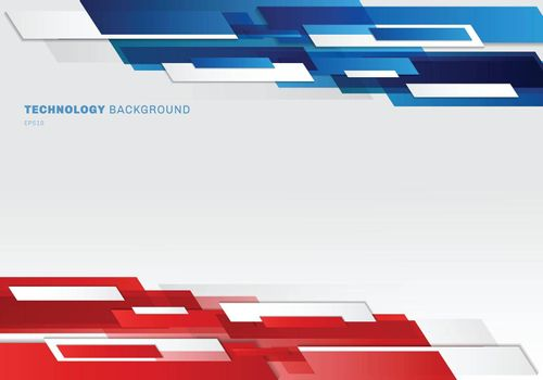 Abstract header blue, red and white shiny geometric shapes overlapping moving technology futuristic style presentation background with copy space. Vector illustration
