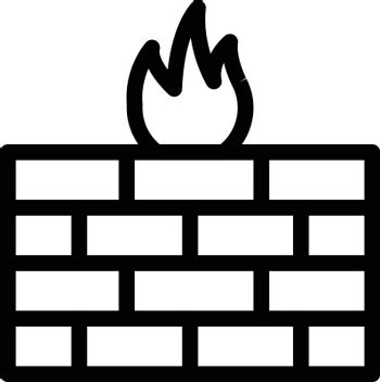 firewall vector thin line icon