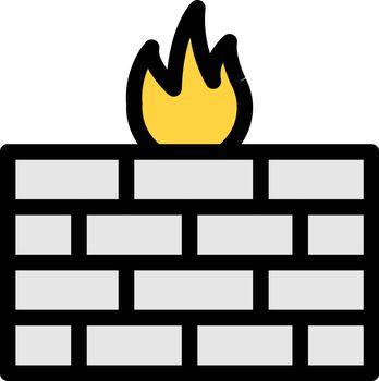 firewall vector color line icon