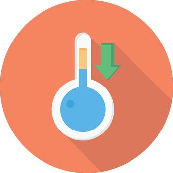 temperature down vector flat colour icon