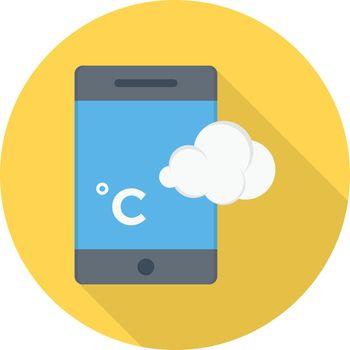 mobile weather Celsius vector flat colour icon
