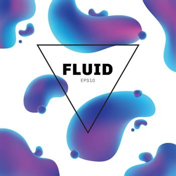 Abstract fluid holographic colors shape with text frame modern background with trendy design. You can use for design brochure, flyer, poster, banner web, etc. Vector illustration