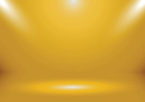 3D empty gold color studio room show booth for designers with spotlight on gold gradient color background. Display your product or artwork luxury style. Vector illustration