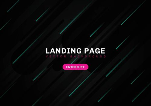 Abstract minimal geometric black color background technology style. template website landing page. Dynamic blue elements composition. Vector illustration