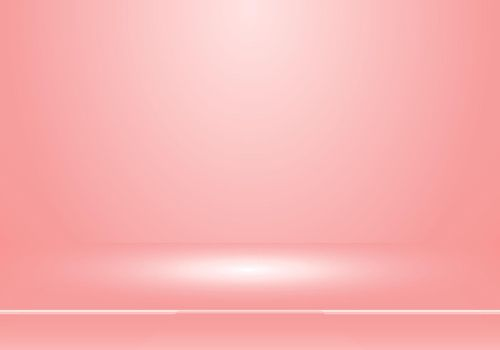 3D empty studio room show booth for designers with spotlight on pastel pink color gradient background. Display your product or artwork. Vector illustration