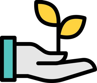 plant vector line colour icon
