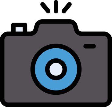 camera vector line colour icon