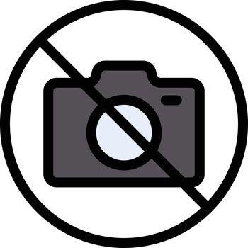 camera ban vector line colour icon