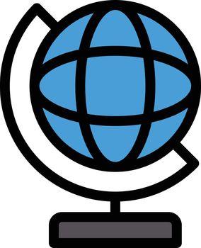 globe vector line colour icon