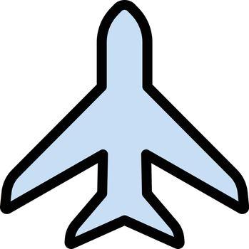 airplane vector line colour icon