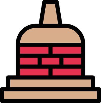 museum vector line colour icon