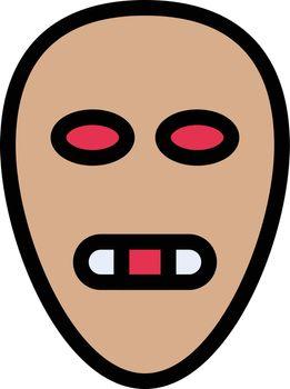 skull vector line colour icon