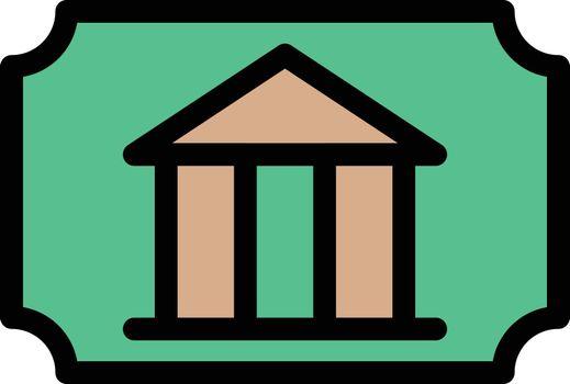 museum ticket vector line colour icon