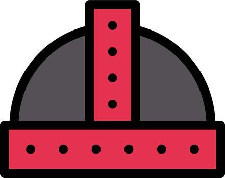 helmet vector line colour icon