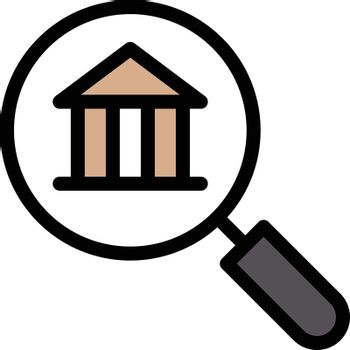 search museum vector line colour icon